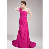 Mermaid One-Shoulder Court Train Chiffon Evening Dress With Ruffle
