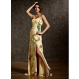 Sheath Sweetheart Sweep Train Chiffon Prom Dress With Ruffle Beading Appliques (018020941)