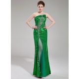 Sheath Scalloped Neck Floor-Length Tulle Sequined Prom Dress With Beading