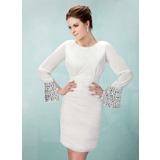 Sheath Scoop Neck Short/Mini Chiffon Homecoming Dress With Ruffle Beading