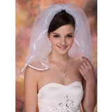 Two-tier Blusher Bridal Veils With Ribbon Edge