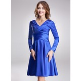 A-Line/Princess V-neck Knee-Length Charmeuse Kate Middleton Style With Ruffle (044020901)