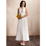 A-Line/Princess Halter Ankle-Length Chiffon Charmeuse Wedding Dress With Ruffle Bow(s)