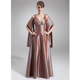 A-Line/Princess V-neck Floor-Length Taffeta Bridesmaid Dress With Ruffle Beading