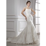 Mermaid Chapel Train Satin Tulle Wedding Dress With Lace (002015470)