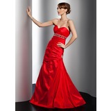 A-Line/Princess Sweetheart Floor-Length Taffeta Prom Dress With Ruffle Beading Sequins