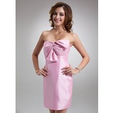 Sheath Sweetheart Short/Mini Taffeta Bridesmaid Dress With Ruffle (022016774)
