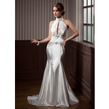 Mermaid High Neck Court Train Tulle Charmeuse Wedding Dress With Ruffle Beadwork (002012202)