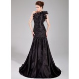 Mermaid One-Shoulder Sweep Train Organza Prom Dress With Ruffle