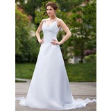 Empire V-neck Watteau Train Organza Wedding Dress With Ruffle Beading Sequins