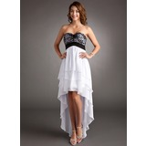 Empire Sweetheart Asymmetrical Chiffon Lace Homecoming Dress With Ruffle