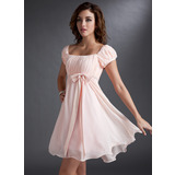 Empire Square Neckline Short/Mini Chiffon Satin Bridesmaid Dress With Ruffle Beading Sequins Bow(s)