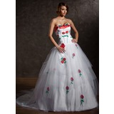 Ball-Gown Sweetheart Court Train Satin Tulle Wedding Dress With Appliques (002011386)