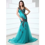 Mermaid V-neck Court Train Tulle Prom Dress With Ruffle Appliques (018017355)