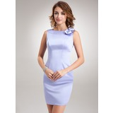 Sheath Scoop Neck Short/Mini Satin Bridesmaid Dress