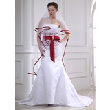 Mermaid Strapless Court Train Satin Wedding Dress With Lace Sashes Crystal Brooch (002012654)