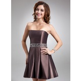 A-Line/Princess Strapless Short/Mini Taffeta Cocktail Dress With Beading (016021062)