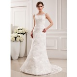 Mermaid Scoop Neck Sweep Train Satin Lace Wedding Dress (002019532)