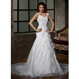 A-Line/Princess V-neck Chapel Train Organza Wedding Dress With Lace Beading Flower(s) Cascading Ruffles
