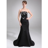 Mermaid Strapless Court Train Satin Bridesmaid Dress With Embroidered Beading (007004182)