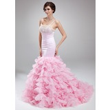 Mermaid Scoop Neck Court Train Organza Satin Prom Dress With Beading