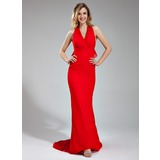 Mermaid Halter Sweep Train Chiffon Evening Dress With Ruffle