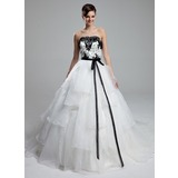 Ball-Gown Strapless Cathedral Train Organza Wedding Dress With Lace Sash Beading Sequins Bow(s)