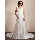 A-Line/Princess V-neck Chapel Train Chiffon Wedding Dress With Ruffle Lace Beadwork