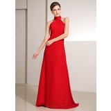 Sheath High Neck Sweep Train Chiffon Holiday Dress With Ruffle