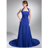 A-Line/Princess Halter Chapel Train Chiffon Mother of the Bride Dress With Ruffle