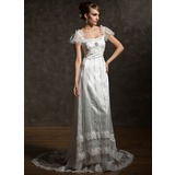 Sheath/Column Square Neckline Court Train Tulle Charmeuse Wedding Dress With Lace Beadwork Crystal Brooch (002012089)