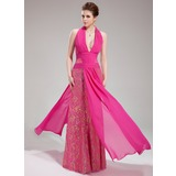 Sheath/Column Halter Floor-Length Chiffon Lace Evening Dress With Ruffle Beading