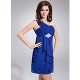 Empire One-Shoulder Short/Mini Chiffon Homecoming Dress With Beading Cascading Ruffles