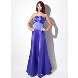 Empire Scalloped Neck Floor-Length Satin Bridesmaid Dress With Ruffle (007001908)