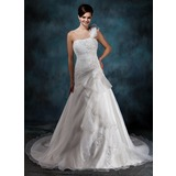 A-Line/Princess One-Shoulder Chapel Train Organza Satin Wedding Dress With Ruffle Lace Beadwork Flower(s) (002004545)