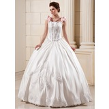 Ball-Gown Floor-Length Satin Wedding Dress With Lace Beadwork Flower(s) (002012651)