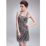 Sheath Square Neckline Short/Mini Charmeuse Cocktail Dress With Beading