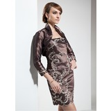 Sheath/Column Strapless Short/Mini Taffeta Mother of the Bride Dress With Embroidered Beading