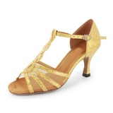 Sparkling Glitter Heels Sandals Latin Ballroom Dance Shoes With T-Strap