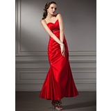 Trumpet/Mermaid Sweetheart Ankle-Length Taffeta Prom Dress With Ruffle Beading