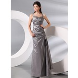 Sheath Halter Floor-Length Taffeta Evening Dress With Ruffle Beading