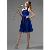 Empire Halter Knee-Length Chiffon Charmeuse Bridesmaid Dress With Ruffle Bow(s) (007000869)