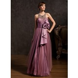 A-Line/Princess Scoop Neck Floor-Length Tulle Charmeuse Holiday Dress With Ruffle Beading