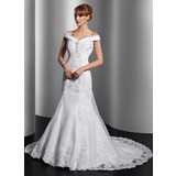 Mermaid Off-the-Shoulder Court Train Organza Satin Wedding Dress With Ruffle Lace Sequins (002014749)
