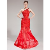 Trumpet/Mermaid One-Shoulder Court Train Satin Tulle Prom Dress With Lace Beading Sequins
