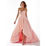 Empire Sweetheart Asymmetrical Chiffon Prom Dress With Ruffle Beading Sequins