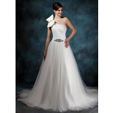 Ball-Gown One-Shoulder Court Train Satin Tulle Wedding Dress With Ruffle Beadwork (002011944)