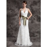 A-Line/Princess V-neck Sweep Train Satin Lace Wedding Dress With Sash Beadwork