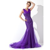Trumpet/Mermaid Cowl Neck Court Train Tulle Mother of the Bride Dress With Beading