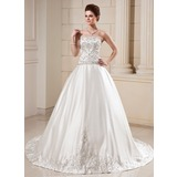 Ball-Gown Strapless Cathedral Train Satin Wedding Dress With Embroidered Beading Sequins